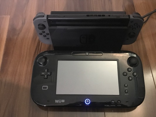 Switch Console with Controllers and Dock with Wii U Gamepad