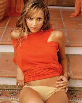Jessica Alba underwear on stairs