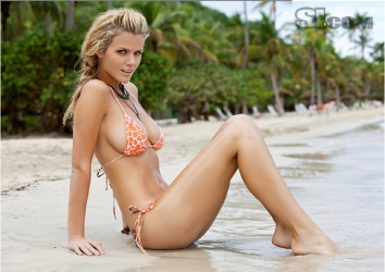 brooklyn decker sitting in water