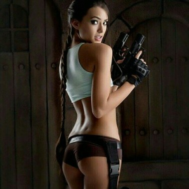 Joanie Brosas Tomb Raider cosplay buns