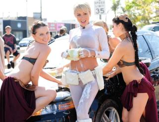 Sara Jean Underwood Padme Cosplay wet carwash