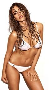 Jessica Alba wet hair white bikini