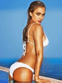 Jessica Alba white bikini push up