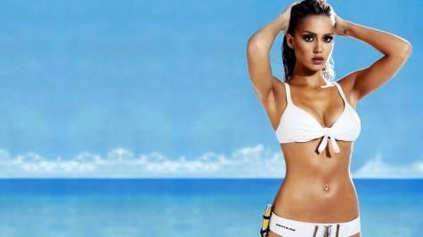 Jessica Alba White Bikini