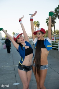 Joanie Brosas and friend pokemon cosplay cheering