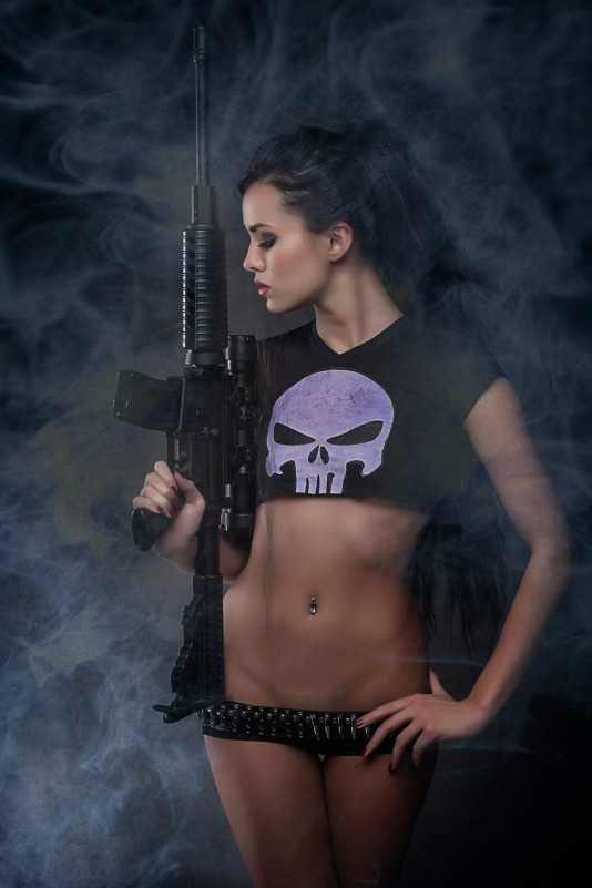 Joanie Brosas Punisher cosplay assault rifle