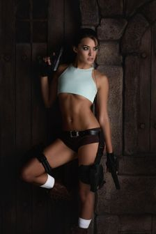 Joanie Brosas tomb raider cosplay poised