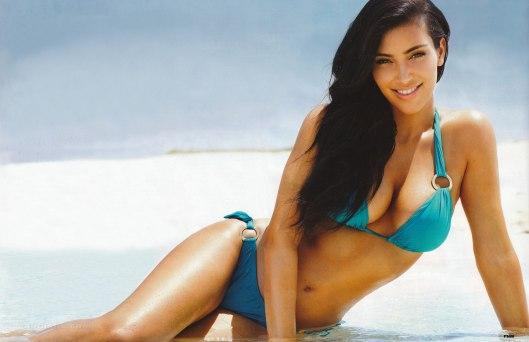 Kim Kardashian Blue Bikini