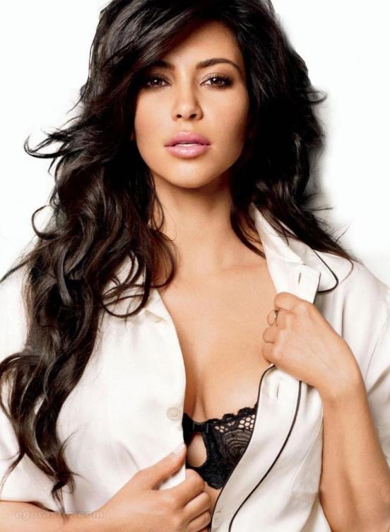 Kim Kardashian unbuttoned shirt