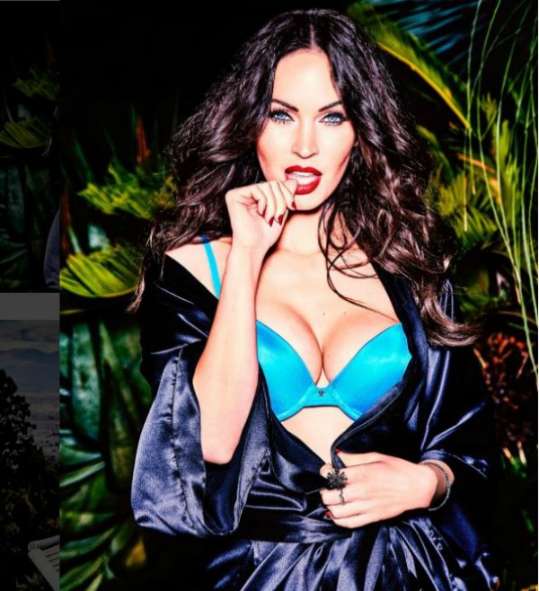 megan fox robe and blue bra