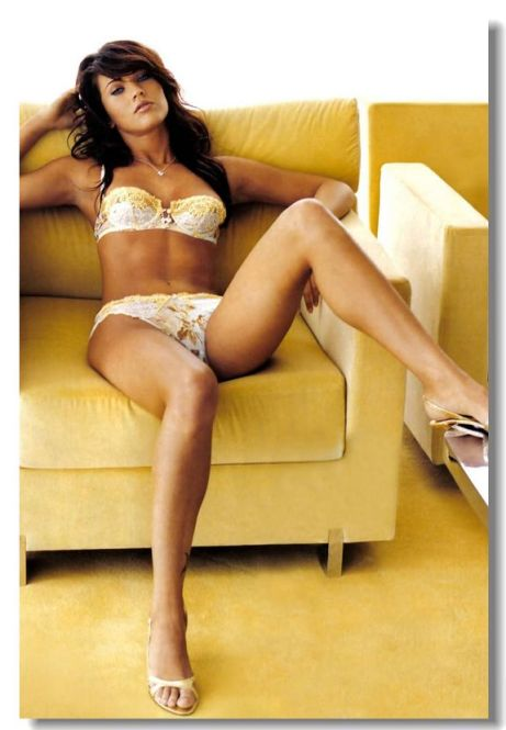megan fox underwear yellow couch