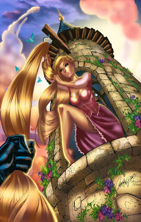 Rapunzel letting her hair down