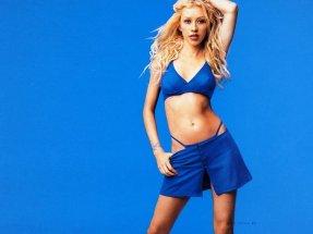 Christina Aguilera Blue Bikini