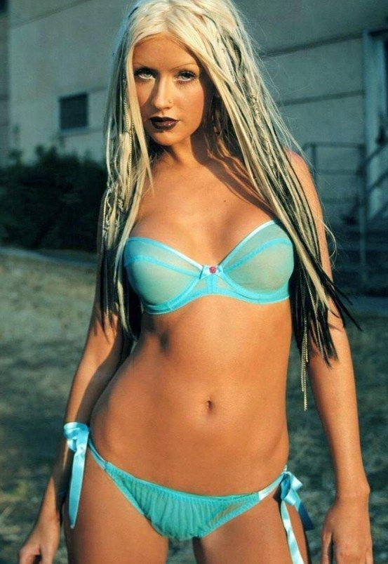 Christina Aguilera blue underwear