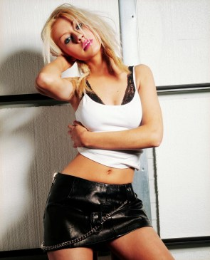 Christina Aguilera leather skirt