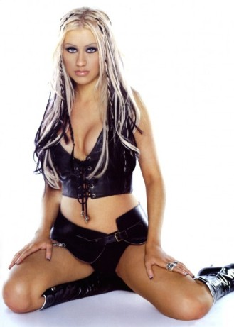 Christina-Aguilera leather sitting