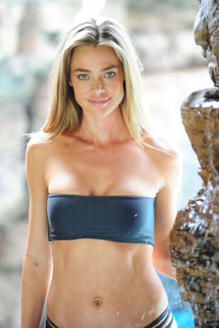 DENISE RICHARDS in Bikini for Photoshoot at a Poolside in Malibu
