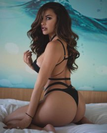ana cheri black behind suit