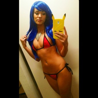 joanie brosas red bikini