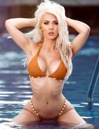 kristen hughey orange bikini