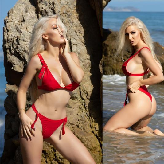 kristen hughey red bikini double