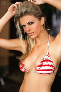 brooklyn decker red and white bikini top