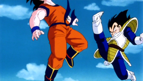 goku kicked by vegeta